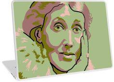 Virginia Woolf green laptop skin