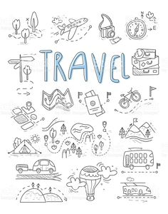 Travel, camping icons in Doodle style great set royalty-free stock vector art