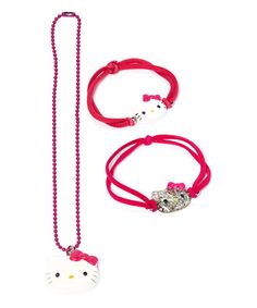 Love this Hello Kitty Pretty in Pink Necklace Set on #zulily! #zulilyfinds