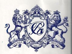 """This new monogram fits a """"Royal Wedding"""" to the """"T"""". It has crowns plus the couples names and wedding date. Notice that the lions are toasting with wine glasses - which is a new twist for today. Also, there are waves added at their feet. See Ceci New York for more details!!"""