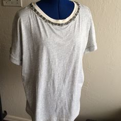 Jcrew jeweled neckline tee Rolled up short sleeves, new with tags, light grey J. Crew Tops Tees - Short Sleeve