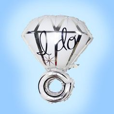 Bridal Shower Decorations BIG Engagement Ring Balloon Diamond I DO Bachelorette Engagement Party Decor Wedding Mylar Foil Balloons Silver