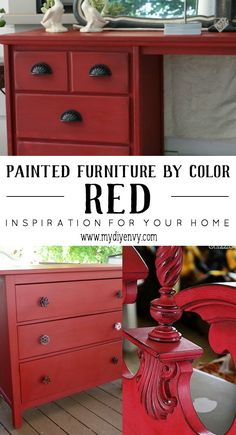 Painted furniture ideas | red painted furniture | www.mydiyenvy.com