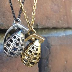 Gold and Silver Grenade Necklace Set