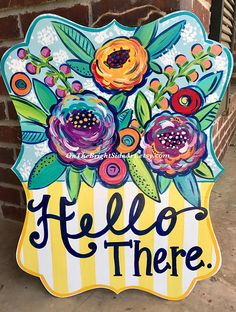 Floral Hello There Spring Door Hanger Door Decor Letter Door Hangers, Burlap Door Hangers, Wooden Hangers, Painted Doors, Wooden Doors, Office Door Signs, Wooden Cutouts, Spring Door, Front Door Decor
