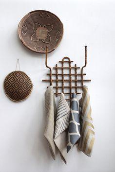 Karnataka lumbar throw pillow cover hand printed in metallic bronze on taupe hemp 12x21 on Etsy, $65.00