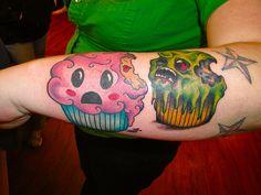 Cute zombie cupcakes :D Girly Tattoos, Pretty Tattoos, Sexy Tattoos, Cute Tattoos, Beautiful Tattoos, Body Art Tattoos, Tatoos, Amazing Tattoos, Cupcake Tattoo Designs