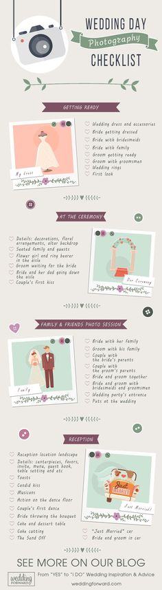 Your big day is coming? This wedding day photography checklistis handy to help youshoot the best romantic photos over Internet.
