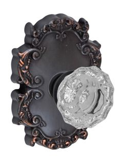 Fusion V-19-C8-O Scalloped Clear Style Privacy Door Knob Set with Victorian Rose Oil Rubbed Bronze Knobset Privacy