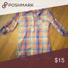 Plaid tunic Lightweight, plaid tunic. Buttons down the front. Very comfortable! Maurices Tops Tunics