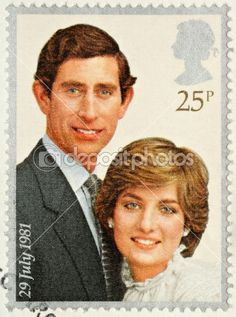 Lady Diana Prince Charles Wedding Stamp by alidphotos - Stock Photo