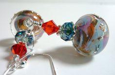 Peach Swirl Glass Earrings Orange Ginger Blue by Elegencebyelaine, $30.00