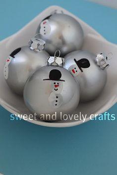 thumbprint snowmen ornaments
