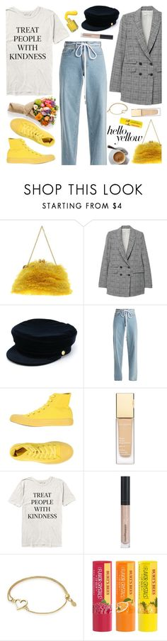"""Get Happy: Pops of Yellow 💛"" by anamarija00 ❤ liked on Polyvore featuring Dolce&Gabbana, MANGO, Manokhi, Off-White, Converse, Bare Escentuals, Alex and Ani, Burt's Bees, PopsOfYellow and NYFWYellow"