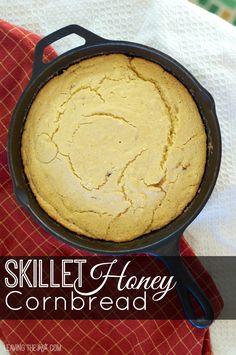 Skillet honey cornbread in skillet pin