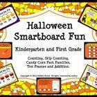 Halloween Smartboard Fun Math:  Kindergarten and First Grade  This unit includes 58 Smartboard slides.  Your kindergartens and first graders will h...