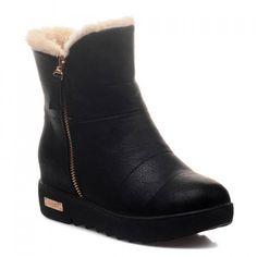 Preppy Zip and Solid Color Design Women's Short Boots, BLACK, 38 in Boots   DressLily.com $40.65