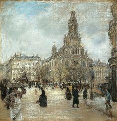 Place de la Trinite, Paris 1886 by Jean Francois Raffaelli (French 1850-1924) (Art Institute of Chicago)