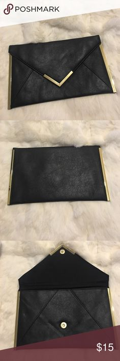 Asos Envelope Clutch Black & Gold Preowned great to good condition. Faux black leather, thin, and gold hardware. Couple of indents on front from storage and two tiny snags. Indents should pop back out. Other than that really nice evening bag. It is about a medium size bag. Approximately the height about 7 inches, width is 12 inches and depth is about a half an inch. Please read description, see photos and ask questions before purchase. Check out my other items. BUNDLE AND SAVE ASOS Bags…