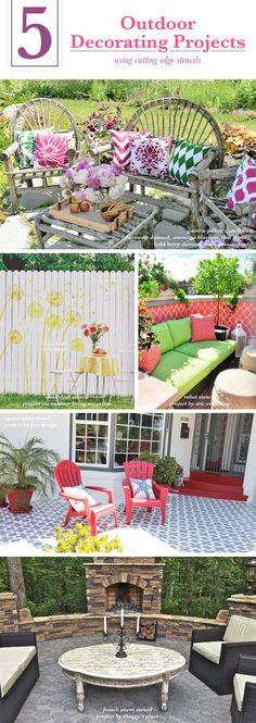 Cutting Edge Stencils shares DIY outdoor decorating ideas for decks and patios using stencil patterns. http://www.cuttingedgestencils.com/wall-stencils-stencil-designs.html