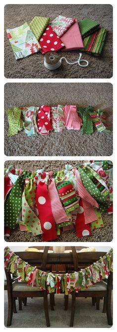 DIY Christmas Fabric Garland