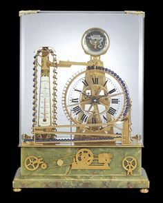 French Waterwheel Automaton Clock~ This French industrial timepiece is captivating in both its mechanical complexity and intricate artistry. The clock is constructed to resemble a waterwheel, paying homage to the industrial advancements that swept through Europe during the 19th century. Its bronze turning paddle wheel powers the three-wheel movement with the help of diminutive balls. ~M.S. Rau Industrial Clocks, French Industrial, Antique Clocks, French Clock, Chicago Museums, Clocks For Sale, Conveyor Belt, Quality Time, Paddle