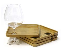 Bamboo server plate w/ wine glass holder  sc 1 st  Pinterest & Disposable Plastic Wine Holder Plates - Clear | Holiday ideas ...