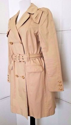 JUICY COUTURE Trench Coat Beige Belted Double Breasted Women s Medium   JuicyCouture  Trench  Casual b5c2e40f8