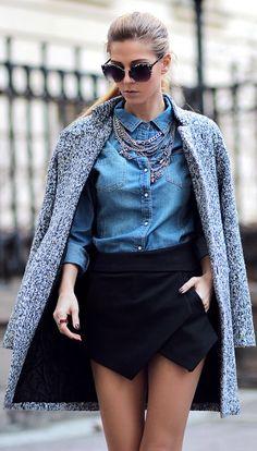Sheinside Single Button Tweed Coat by Sirma Markova