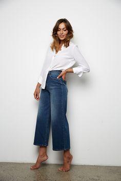 Shop for Lexington Wide Leg Crop - Pants - Max Shop Jeans Fit, Cropped Pants, Work Wear, Wide Leg, Organic Cotton, Normcore, Legs, Barefoot, Model