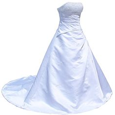 RohmBridal Crystal Strapless Satin Wedding Dress Bride Gown White 26 ** You can find out more details at the link of the image.
