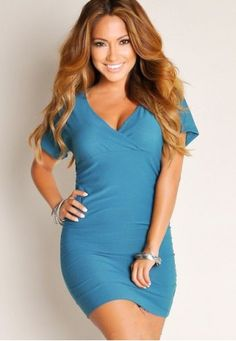 Cute Ruched V-neck Nightclub Dress with Short Sleeves c3d60265b1d1