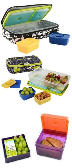 The Fit & Fresh bento box is perfect for you or your little ones on the go. The kit includes one main sandwich sized compartment and two smaller compartments. The two smaller compartments each hold a Lunch Snacks, School Snacks, Healthy Lunches, Boite A Lunch, Get Healthy, School Kit, Kids Meals, Just In Case, Plastic Containers