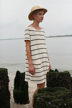 In search of perfect striped dress to wear all summer long, with my hat.