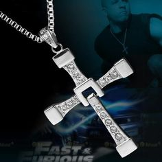Tanboo Fast and Furious 6 Dominic Toretto's Cross Necklace Pendant Titanium Steel Necklace Men's Jewelry,with Tanboo Card and Gift Box Ruby Necklace, Men Necklace, Pendant Necklace, Beau Film, Vin Diesel, Michelle Rodriguez, Paul Walker, Dominic Toretto, Titanium Jewelry