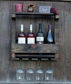 CYBER SALE  Handmade 4 Bottle Wine Rack  Rustic by GreenmanRustics