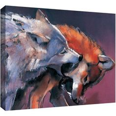 ArtWall Mark Adlington Two Wolves Gallery-Wrapped Canvas, Size: 36 x 48, White