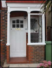 Canopies, Door Entrances & Porches – Georgian stone pediments, Victorian & edwardian porches - All About Front Door Canopy, Front Door Porch, Front Porch Design, Side Porch, Porch Canopy Uk, Door Canopy Modern, Front Doors, Porch Uk, House With Porch
