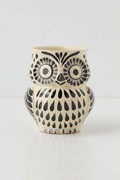 "Handpainted Folk Owl Mug $14.00    DETAILS  By Gorky Gonzales  Earthenware  10 oz  4.25""H, 3"" diameter  Style #: 25989781"