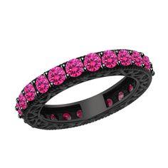 2.92 ct Pink Sapphire 14K Black Rhodium Gold Wedding Band + BLACK DIAMOND #Jpjewels8 #WeddingBand