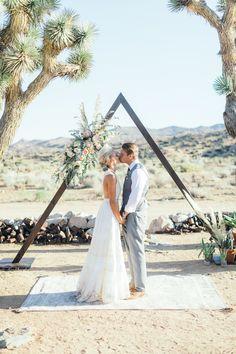 Bohemian Wedding, Triangle Ceremony Arch, Spell & The Gypsy Halter Dress, King Protea, Rimrock Ranch Desert Wedding Venue, Pioneertown, California, Art & Soul Events, Kiel Rucker Photography