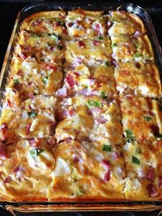 Farmhouse Casserole Directions Grease 2 quart rectangular baking dish. Arrange potatoes evenly on bottom of baking dish. Sprinkle with cheese, ham, onions. Combine milk and eggs and seasonings. Pour over potatoes and cheese. Refrigerate over night. Bake at 350 for 40-50 minutes until set. Let rest 5 minute.