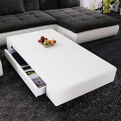 Desinger Couchtisch Case 120x70 Hochglanz Lack Weiss Loungetisch mit Schubkasten Beistelltisch
