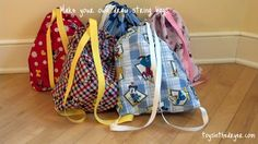 Make these drawstring bags in any pattern for boys and girls of all ages. Great way to carry school items!