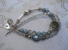 Faceted Aquamarine charm bracelet by unusualadornments on Etsy, $33.00
