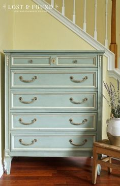 Chalk-Painted Antique Chest of Drawers in Duck Egg Blue