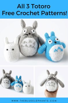 Totoro is one of the nature spirits from the animated movie My Neighbor Totoro. These plushies are made using simple stitches and some basic shaping to create the Totoro look. The PDF include THREE patterns, one for each of the nature spirits. Crochet Animals, Crochet Toys, Free Crochet, Crochet Crafts, Amigurumi Patterns, Crochet Patterns, Crochet Ideas, Crochet Totoro, Caron Yarn