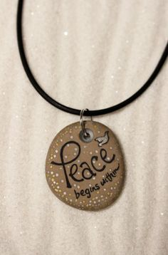 A 'Peace' Stone Poem Necklace...Hand Painted stone by QuietDove, $28.00