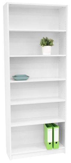 Orson 6 Shelf Bookcase White - a place to display my things. Office Works, My Workspace, White Laminate, European Furniture, Home Office Furniture, Ideal Home, Bathroom Medicine Cabinet, Bookcase White, Storage Spaces