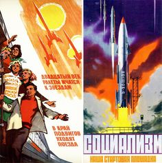 Vintage Russian Space Race-Posters